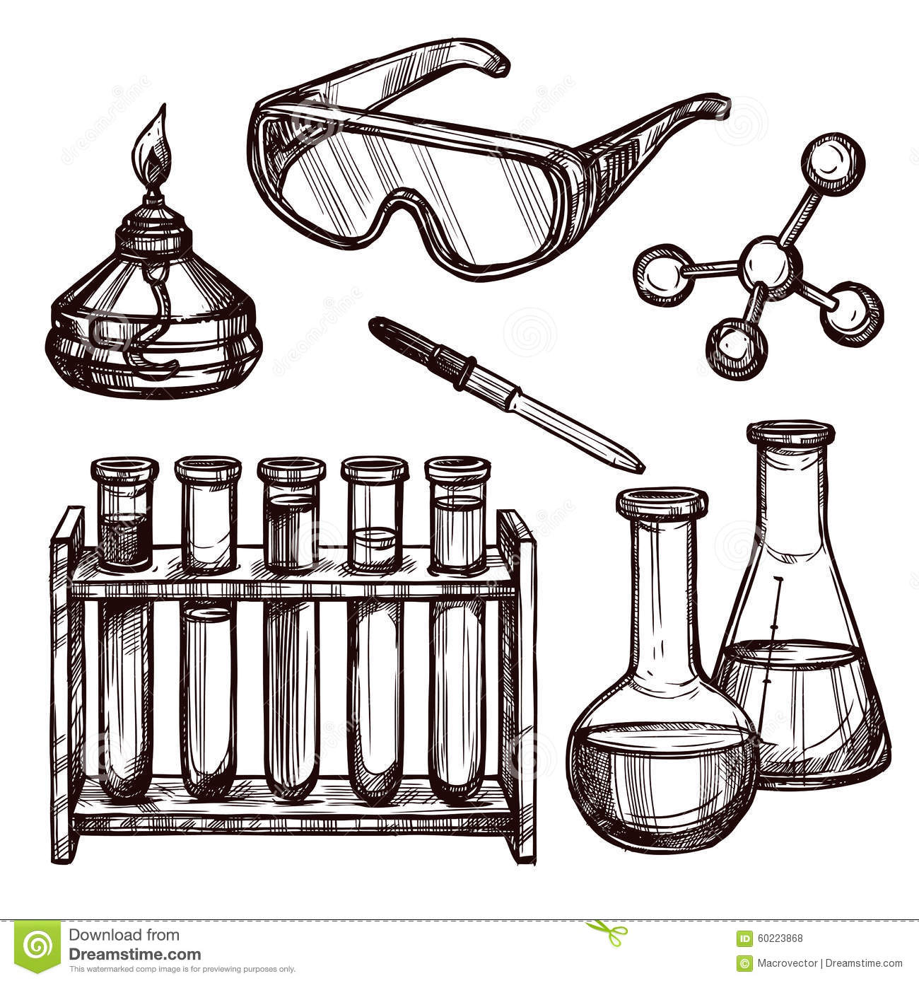 Chemistry Tools Hand Drawn Set Stock Vector