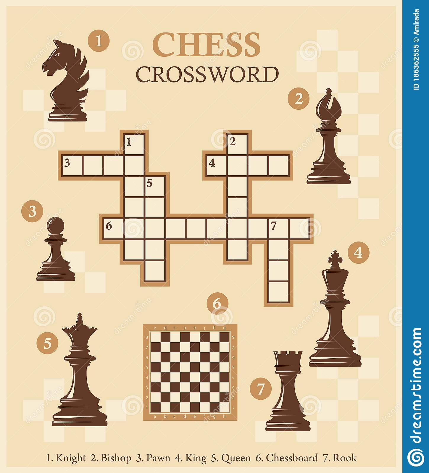 Chess Crossword With Pieces Quiz Vector Illustration