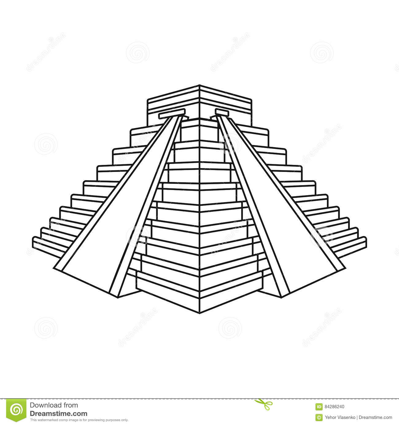 Chichen Itza Icon In Outline Style Isolated On White