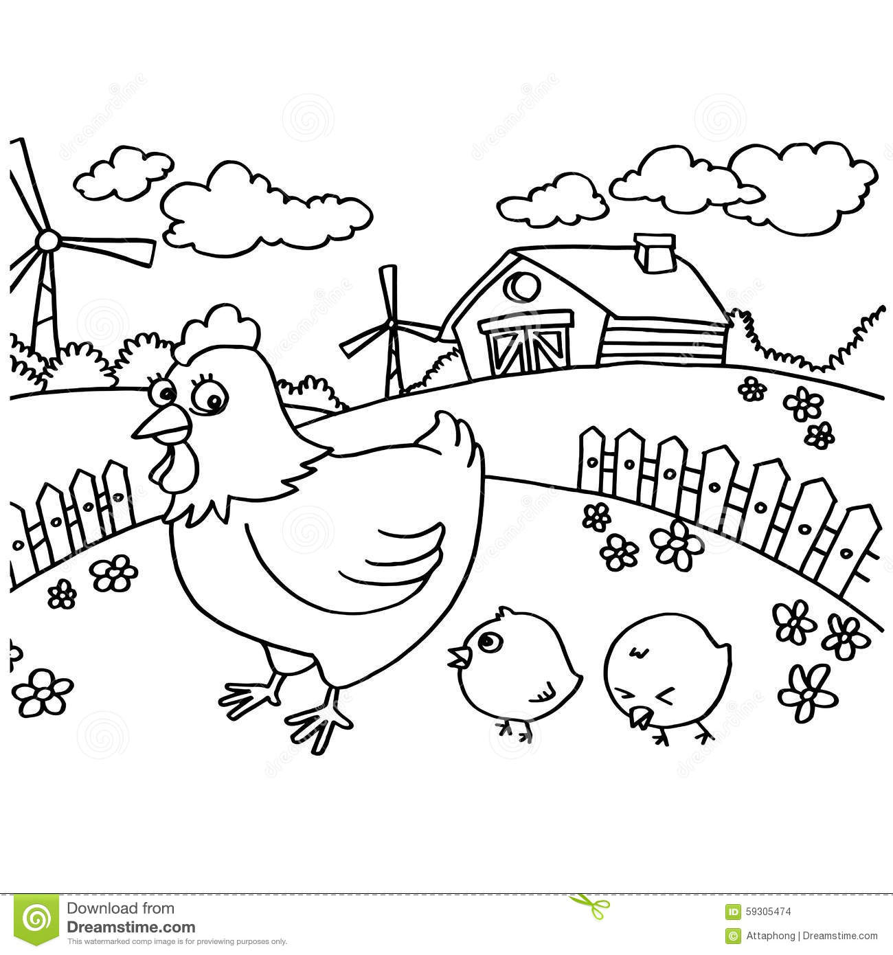 Chicken Coloring Pages Vector Stock Vector Illustration Of Meat Pages 59305474