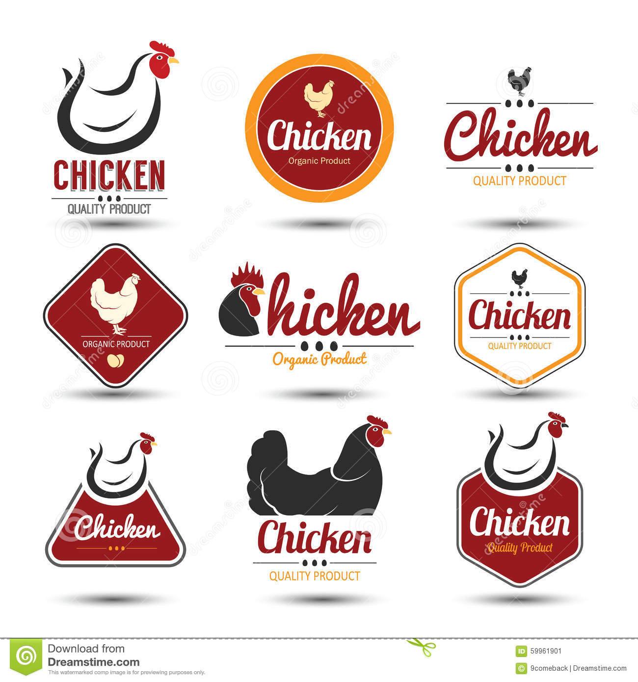 Chicken Label Stock Vector Image Of Poultry Design