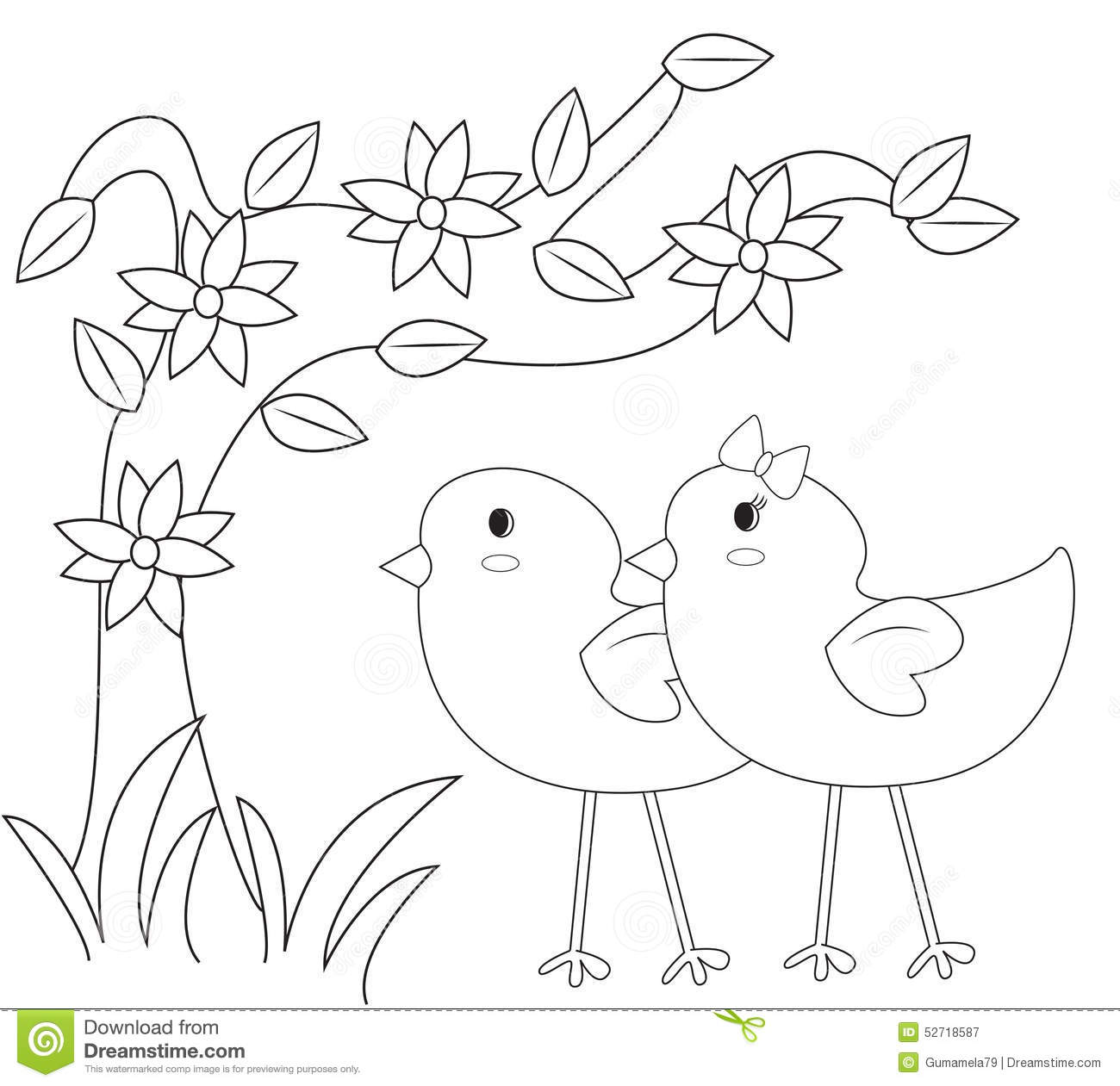 Chicks In The Garden Coloring Page Stock Illustration