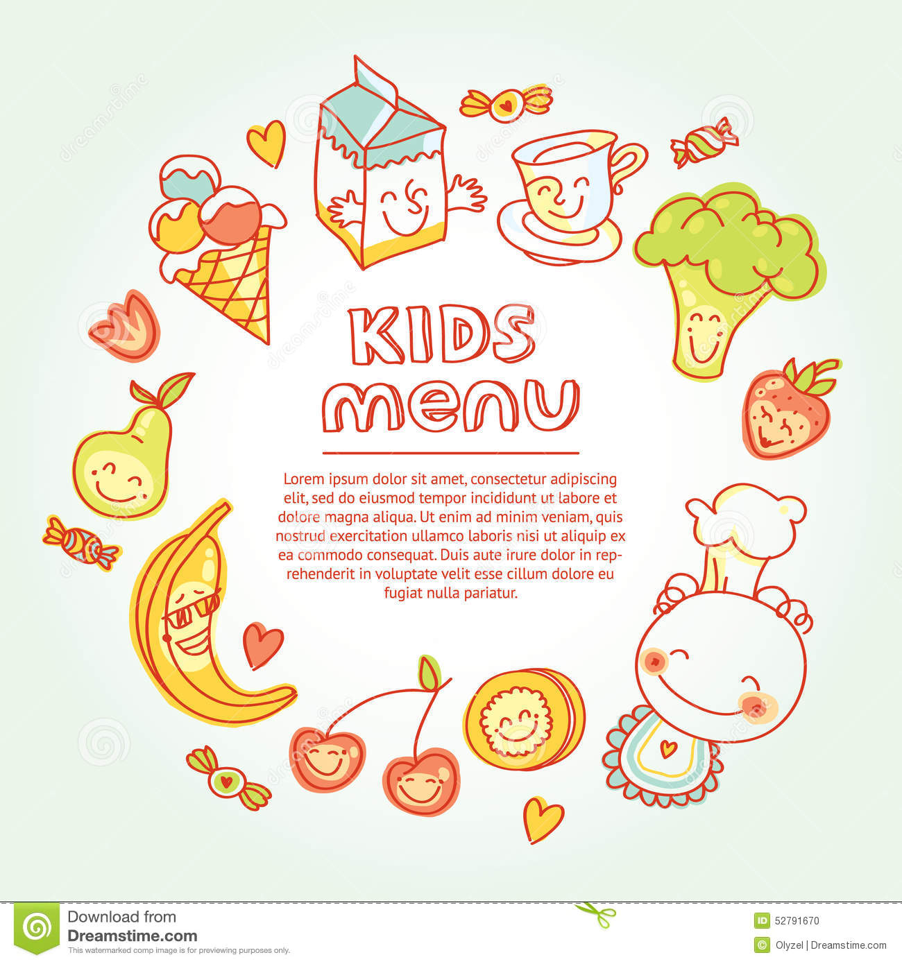 Child And Baby Food Kids Menu With Colorful Stock Vector