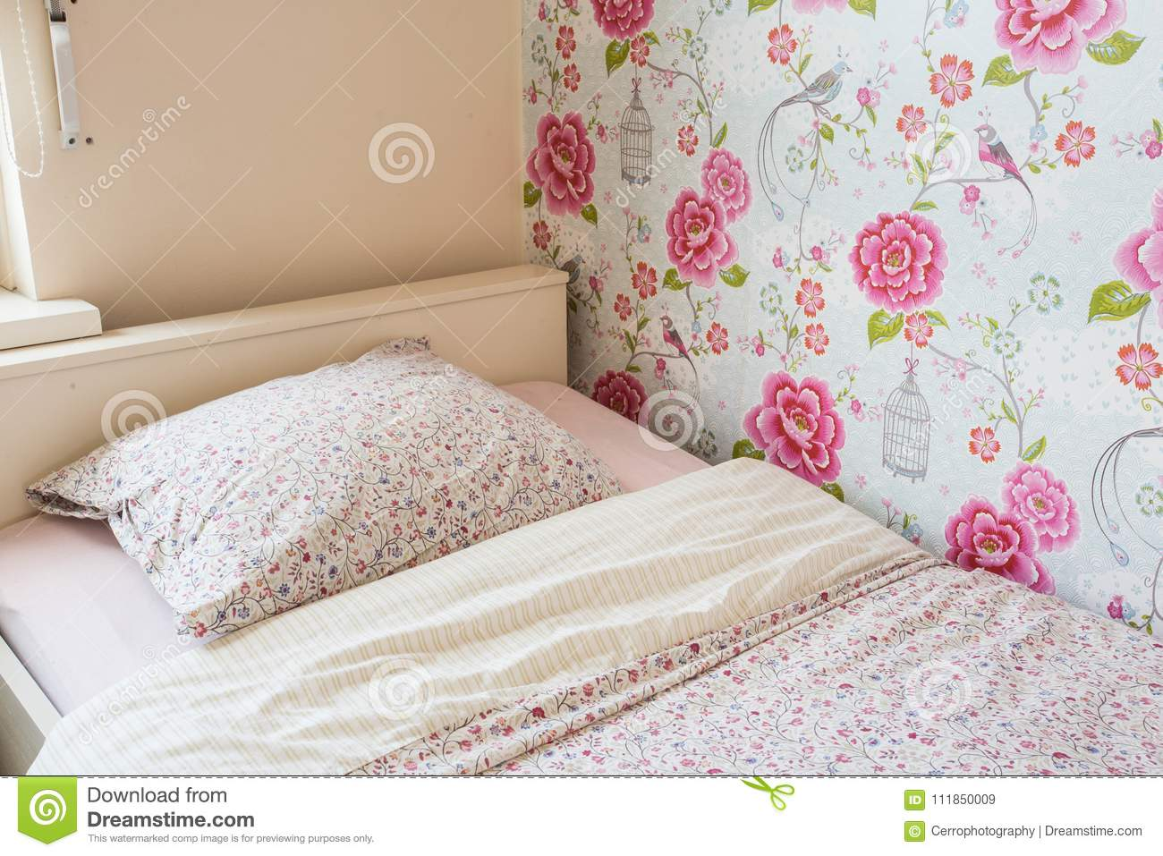 Child Bed Girls Room Pink Colors Stock Image Image Of Floor Background 111850009