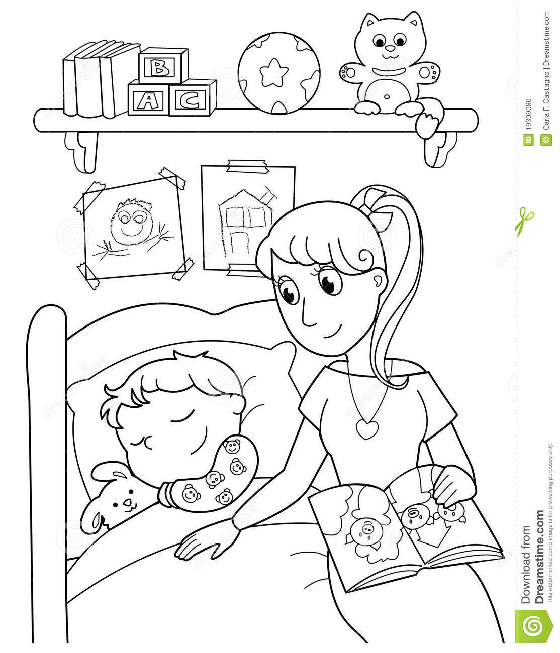 Child At Bed With Mom Stock Vector Image Of Cartoon