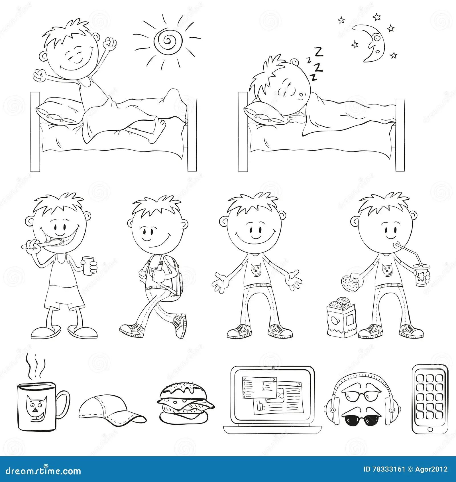 Boy Is Sleeping In His Bed Cartoon Vector