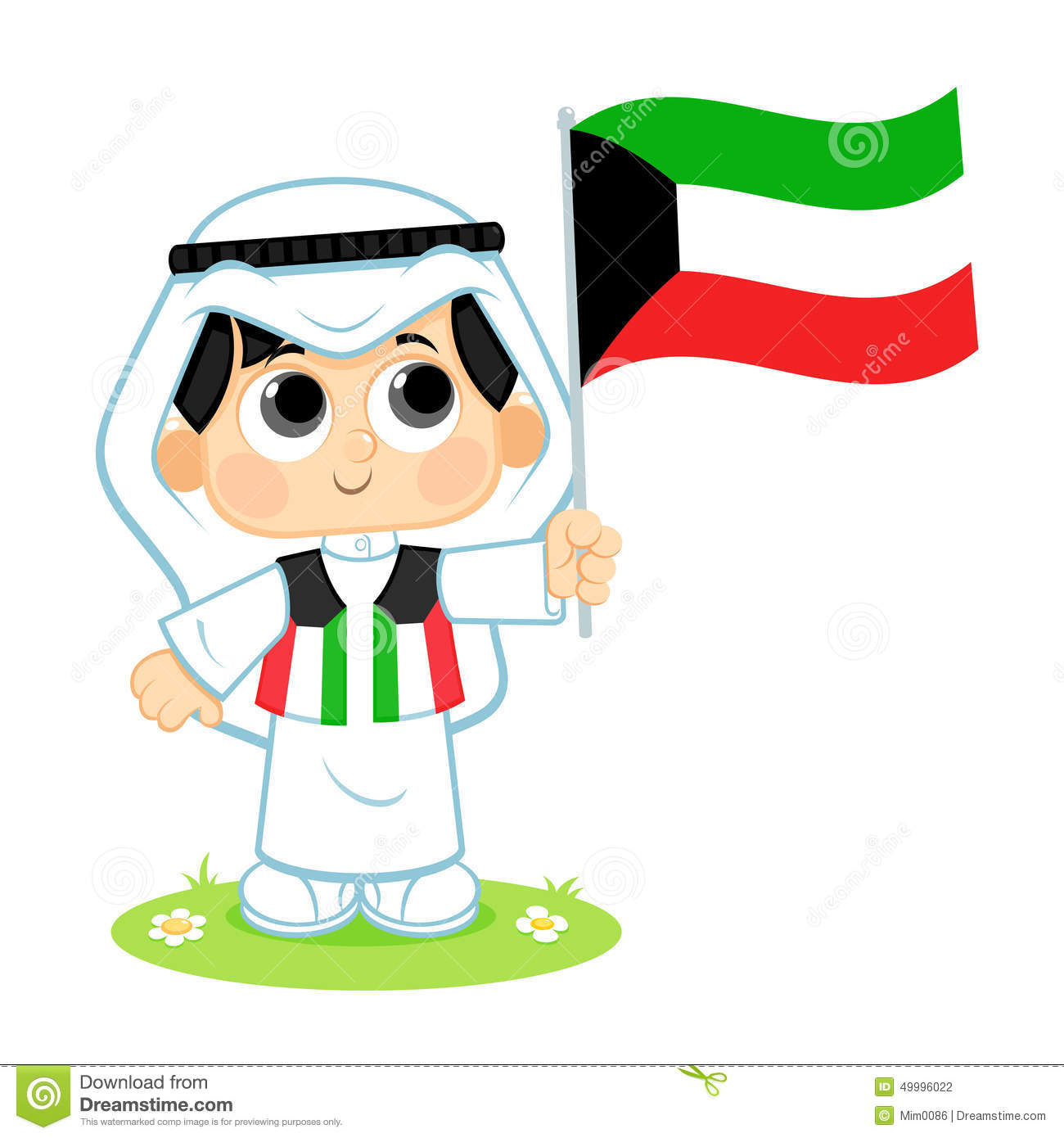 Child Celebrates Kuwait National Day Stock Vector