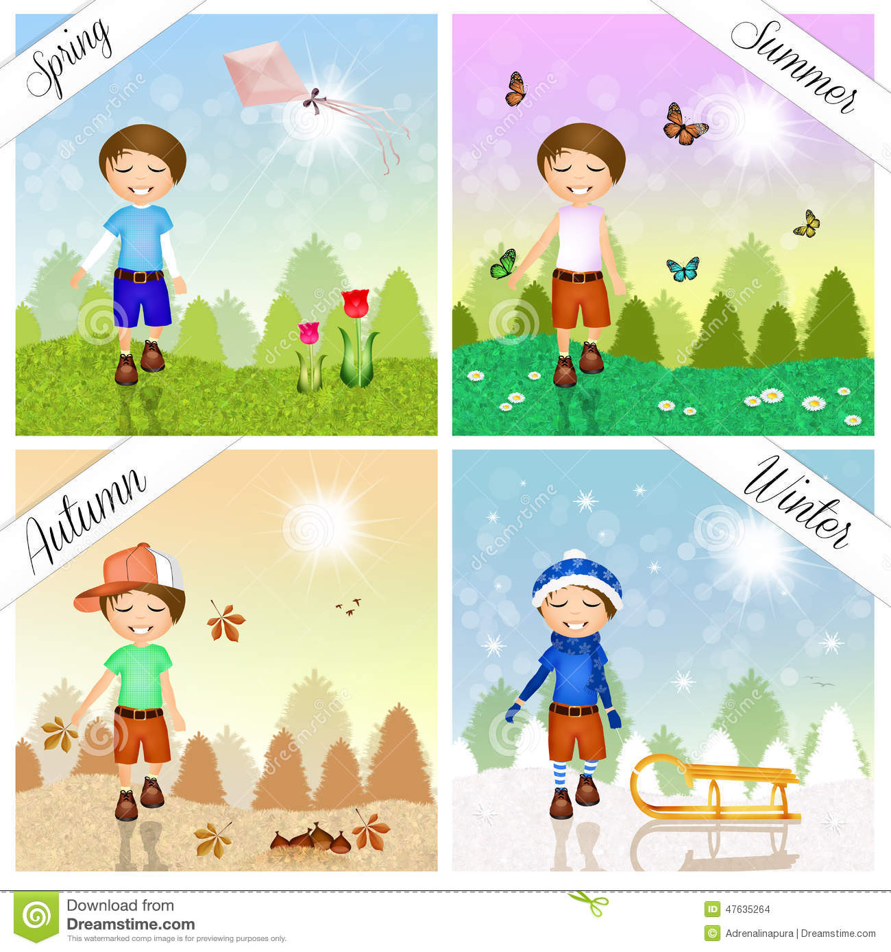 Child In The Four Seasons Stock Illustration