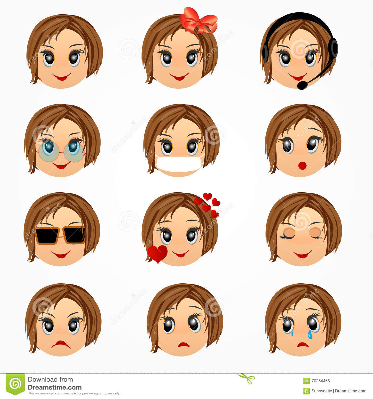 Child Girl Emotions Face Set Emoticon Smiley Faces