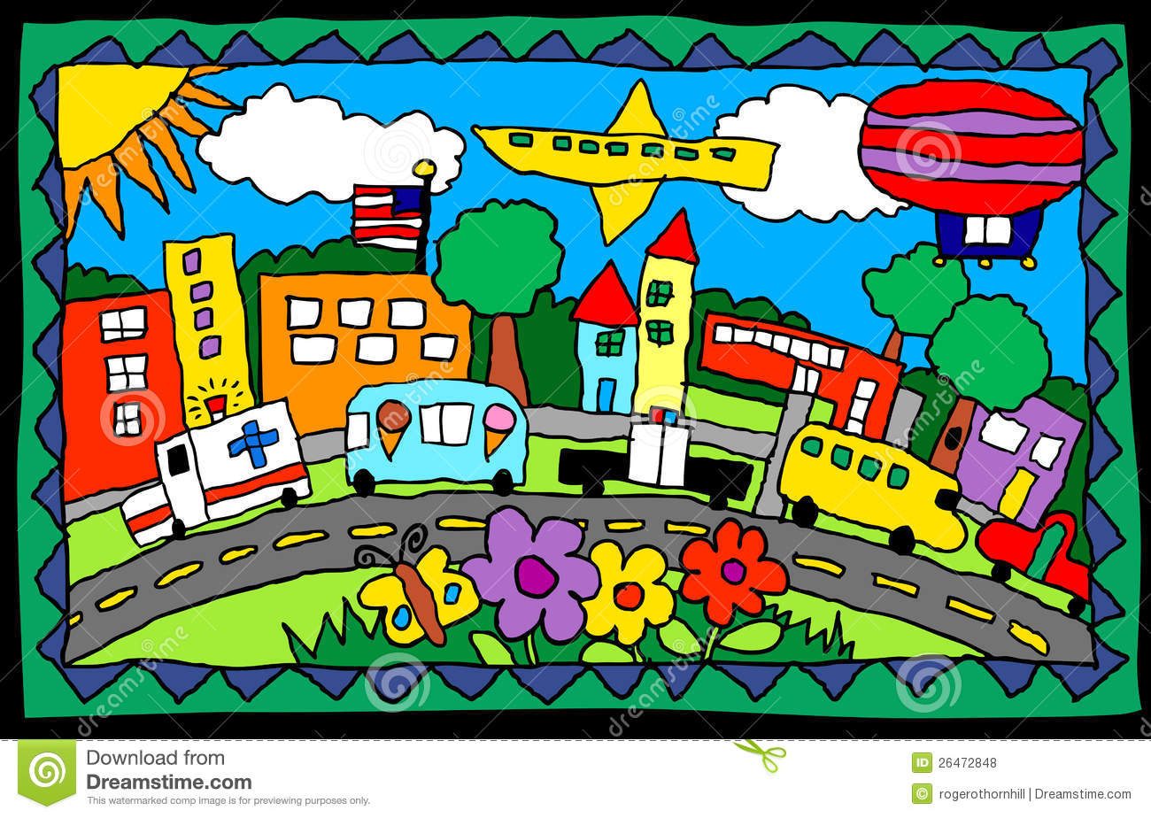 Child S Drawing Busy Town Royalty Free Stock Photos