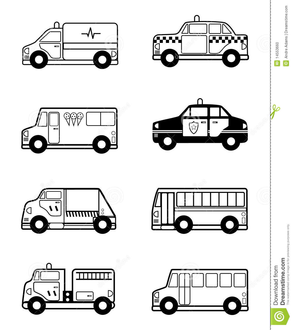 Child Toy Vehicles Outline Stock Vector Illustration Of Book