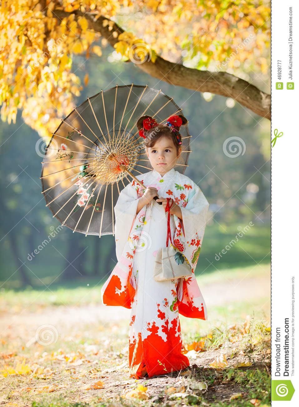 Child In Traditional Japanese Kimono With Umbrella Stock
