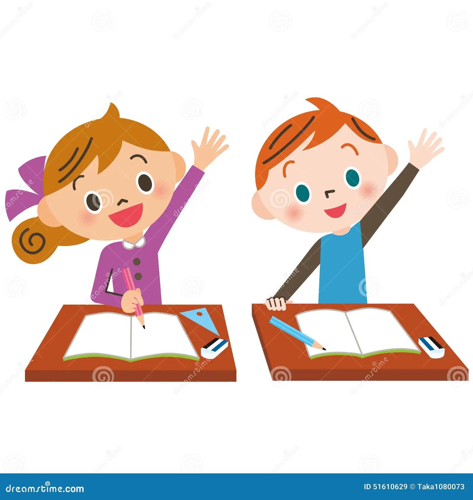 Child Who Raises Hand Well Stock Vector Illustration Of