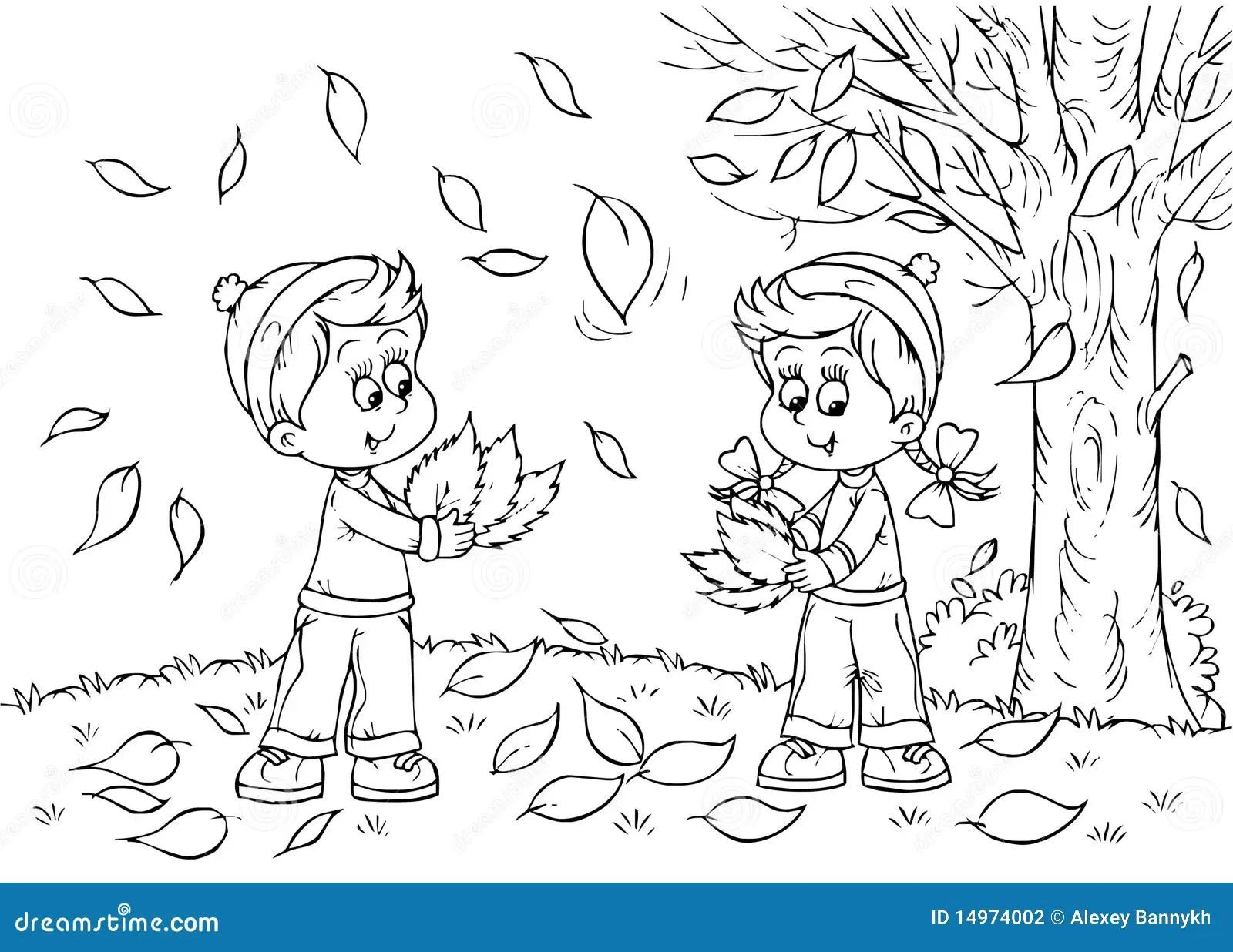 Children In Autumn Stock Illustration Illustration Of
