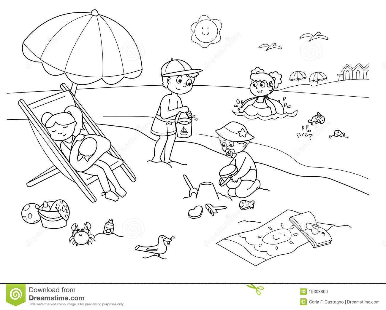 Children At The Beach Stock Vector Illustration Of Beach