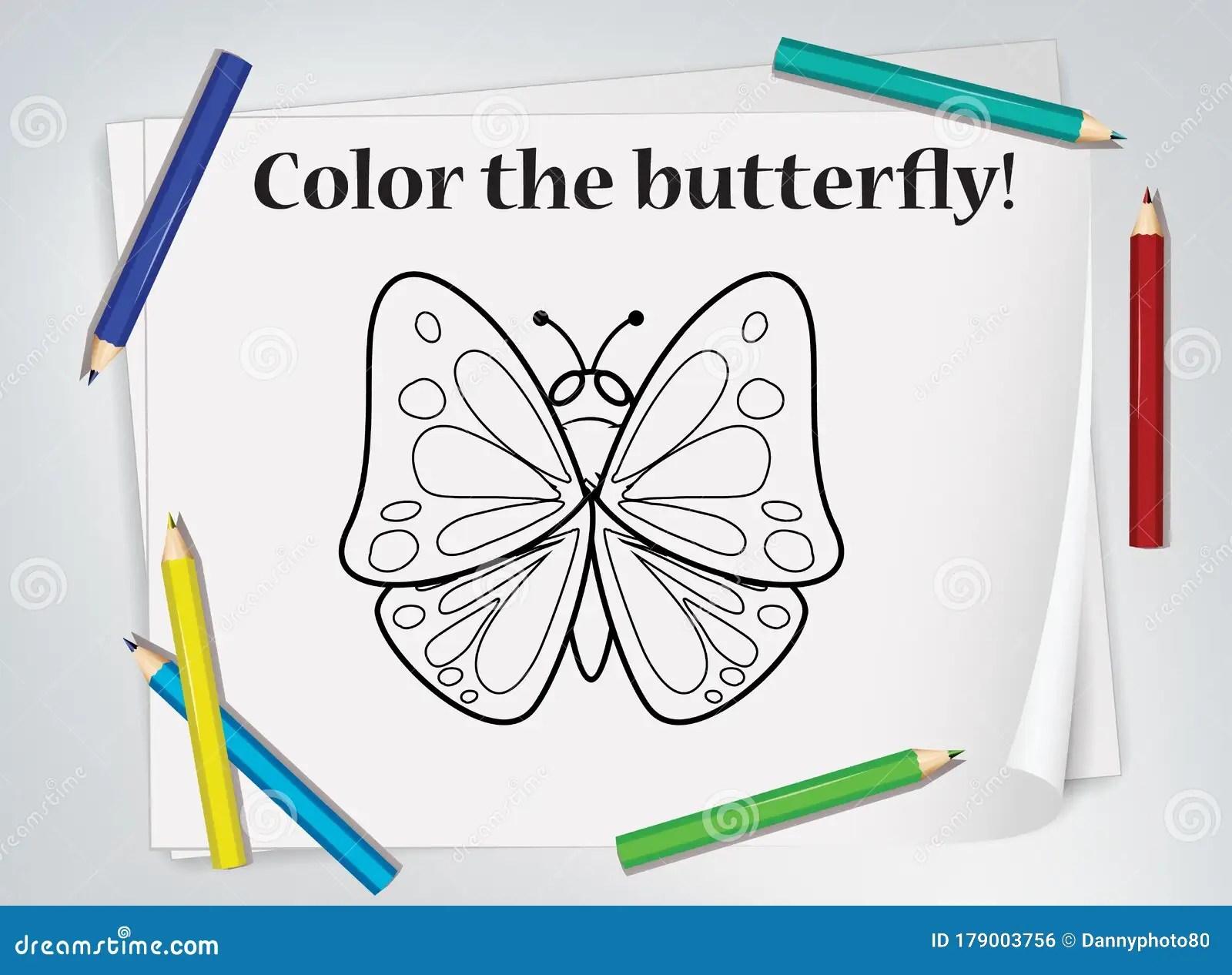 Children Butterfly Coloring Worksheet Stock Illustration