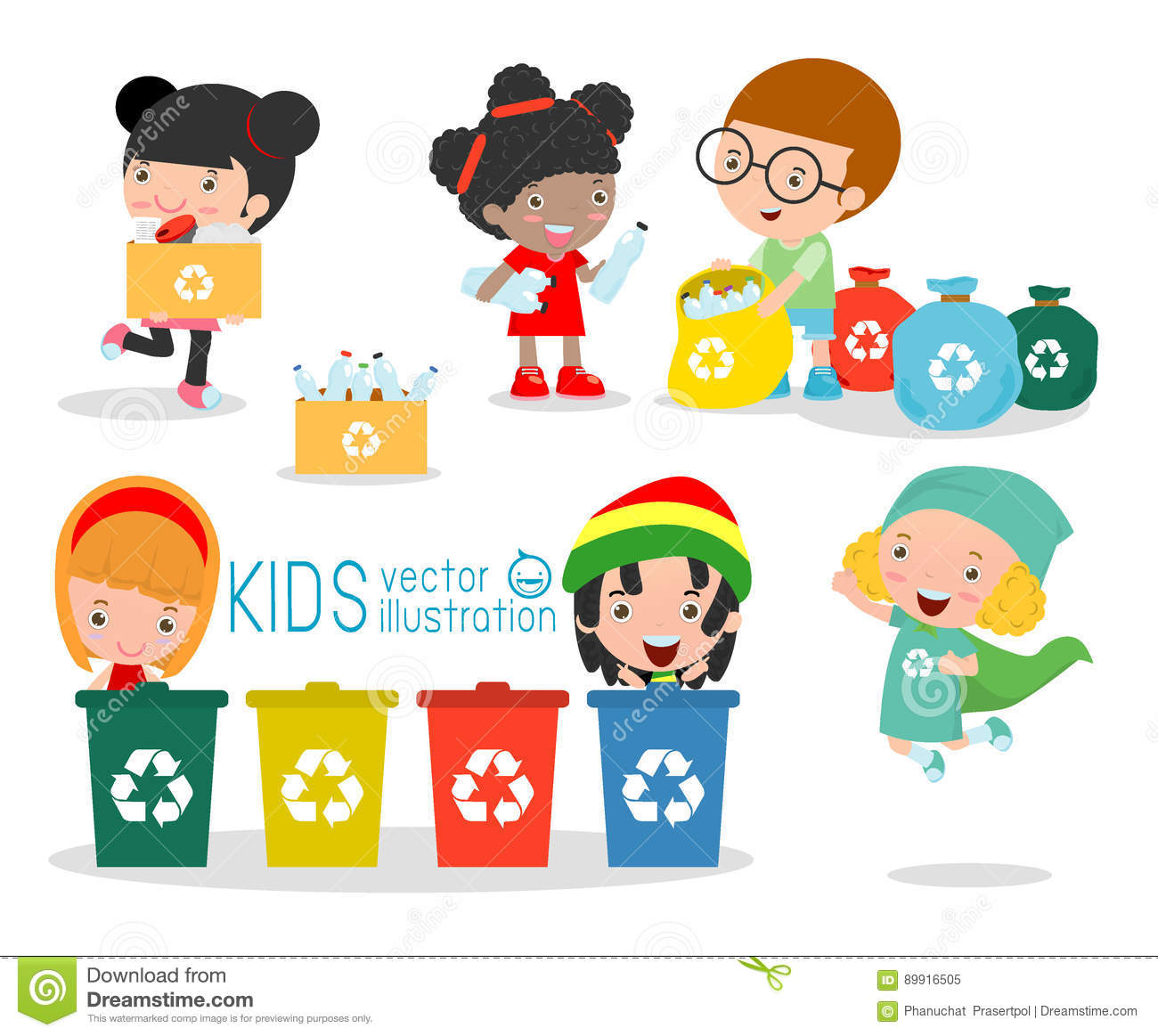 Children Collect Rubbish For Recycling Illustration Of