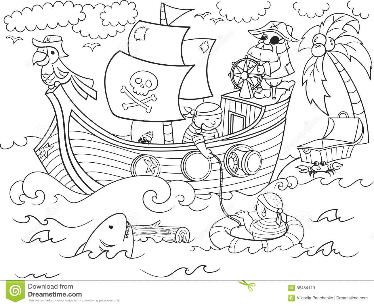 Children Coloring On The Theme Of Pirates Vector Stock
