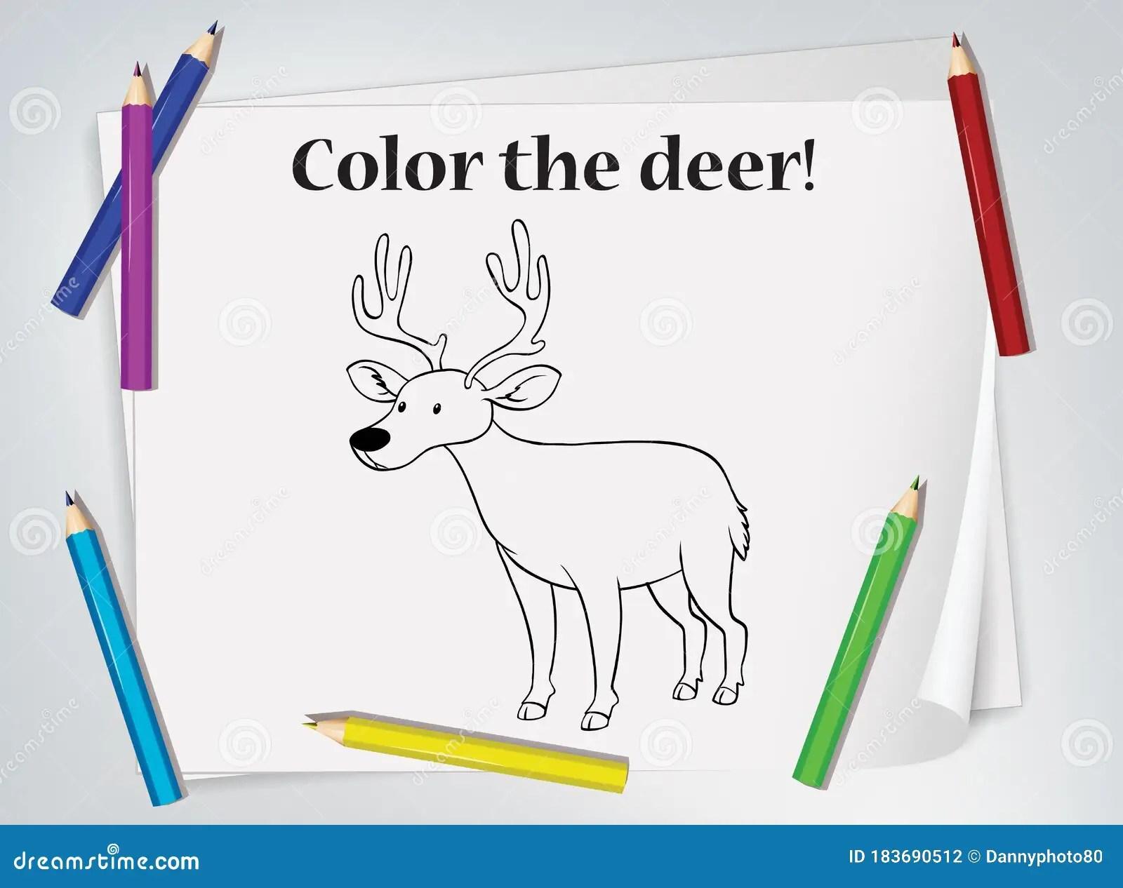 Children Deer Coloring Worksheet Stock Illustration
