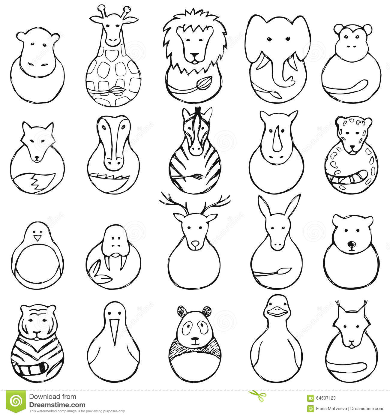 Children Drawing Of Animal Toys Stock Vector