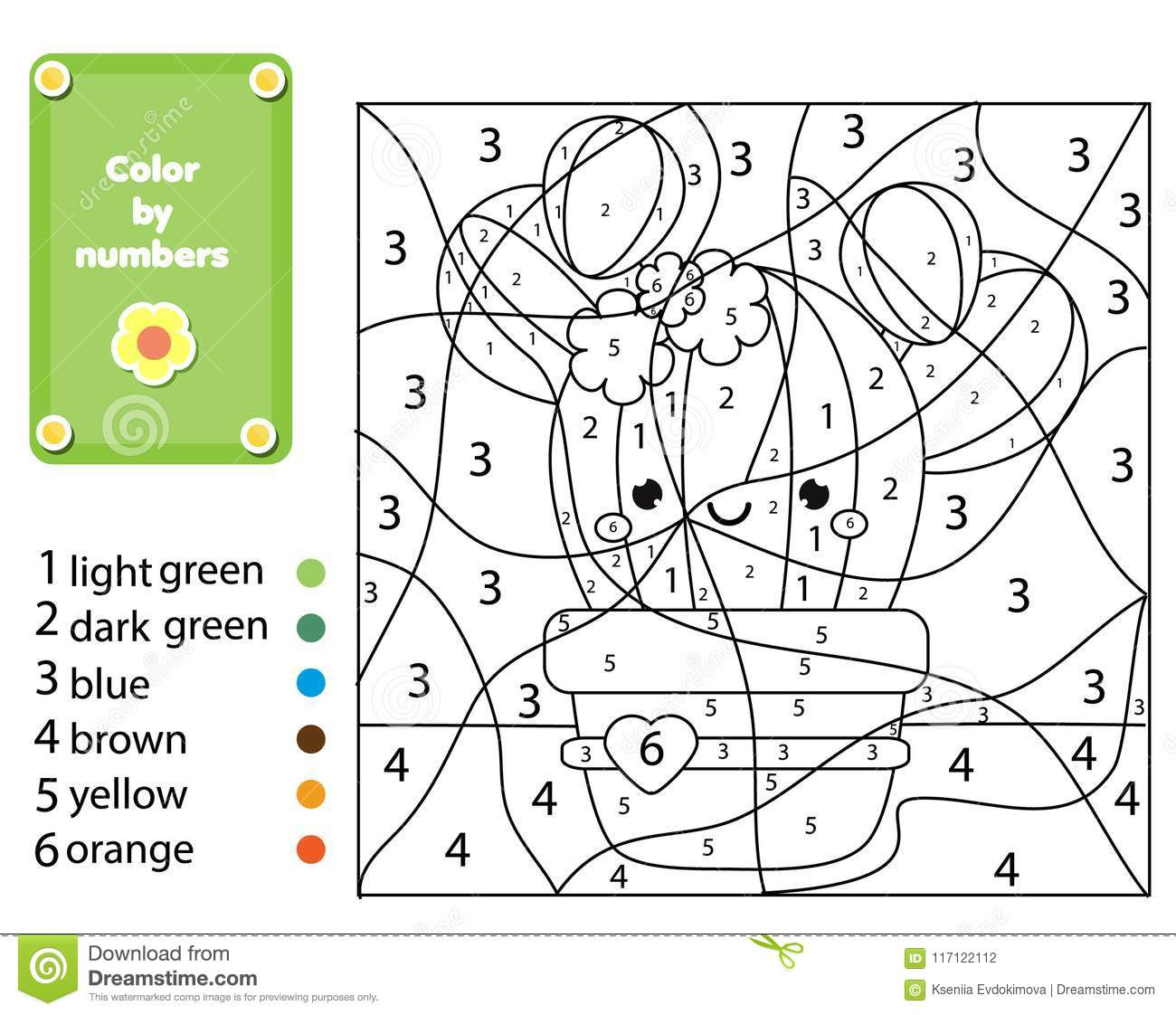 Children Educational Game Coloring Page With Cactus Plant