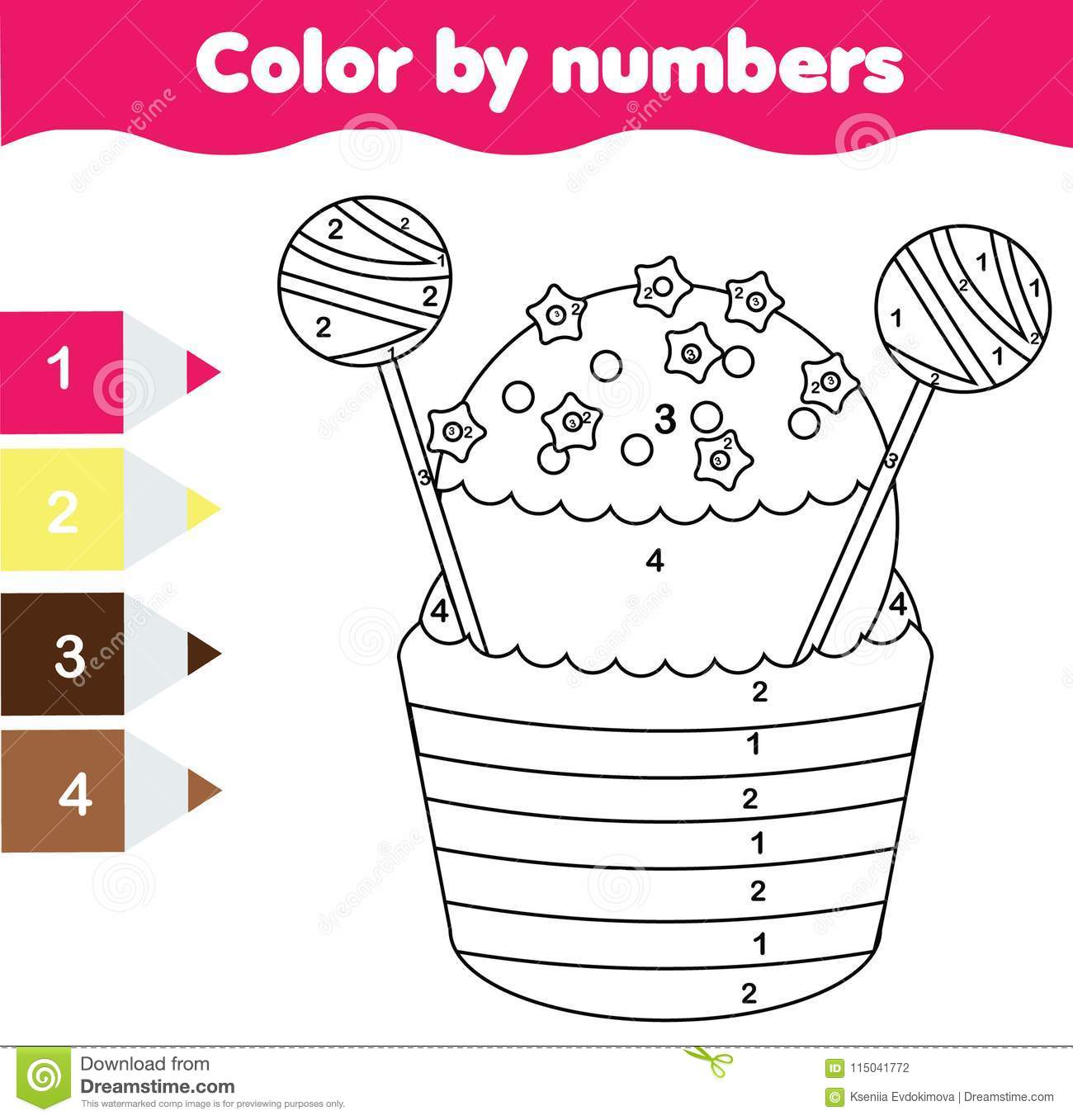 Children Educational Game Coloring Page With Cupcake