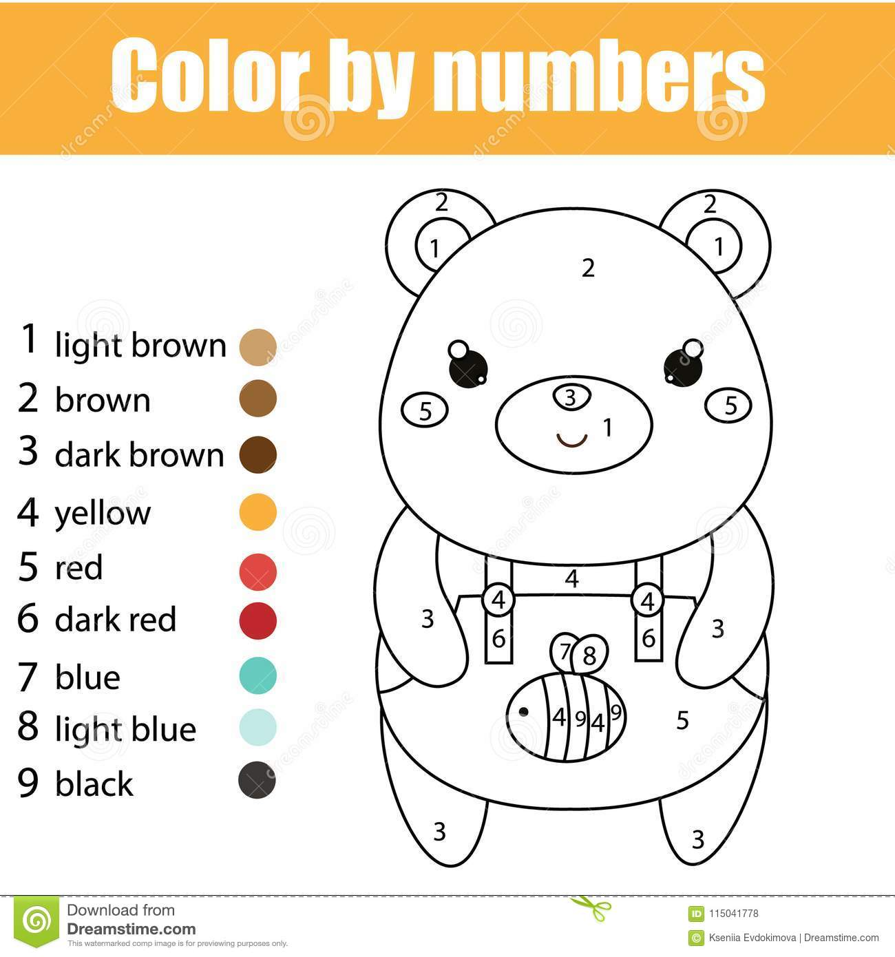 Children Educational Game Coloring Page With Cute Bear