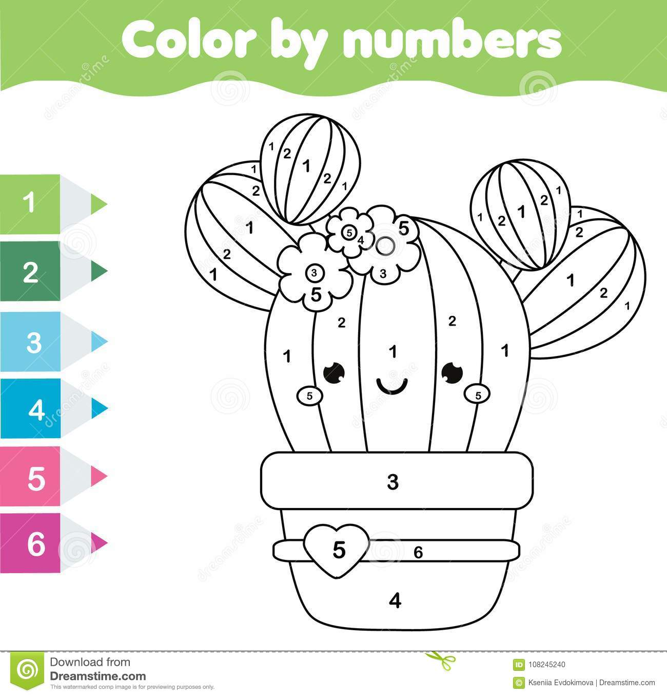 Children Educational Game Coloring Page With Cute Cactus Color By Numbers Printable Activity