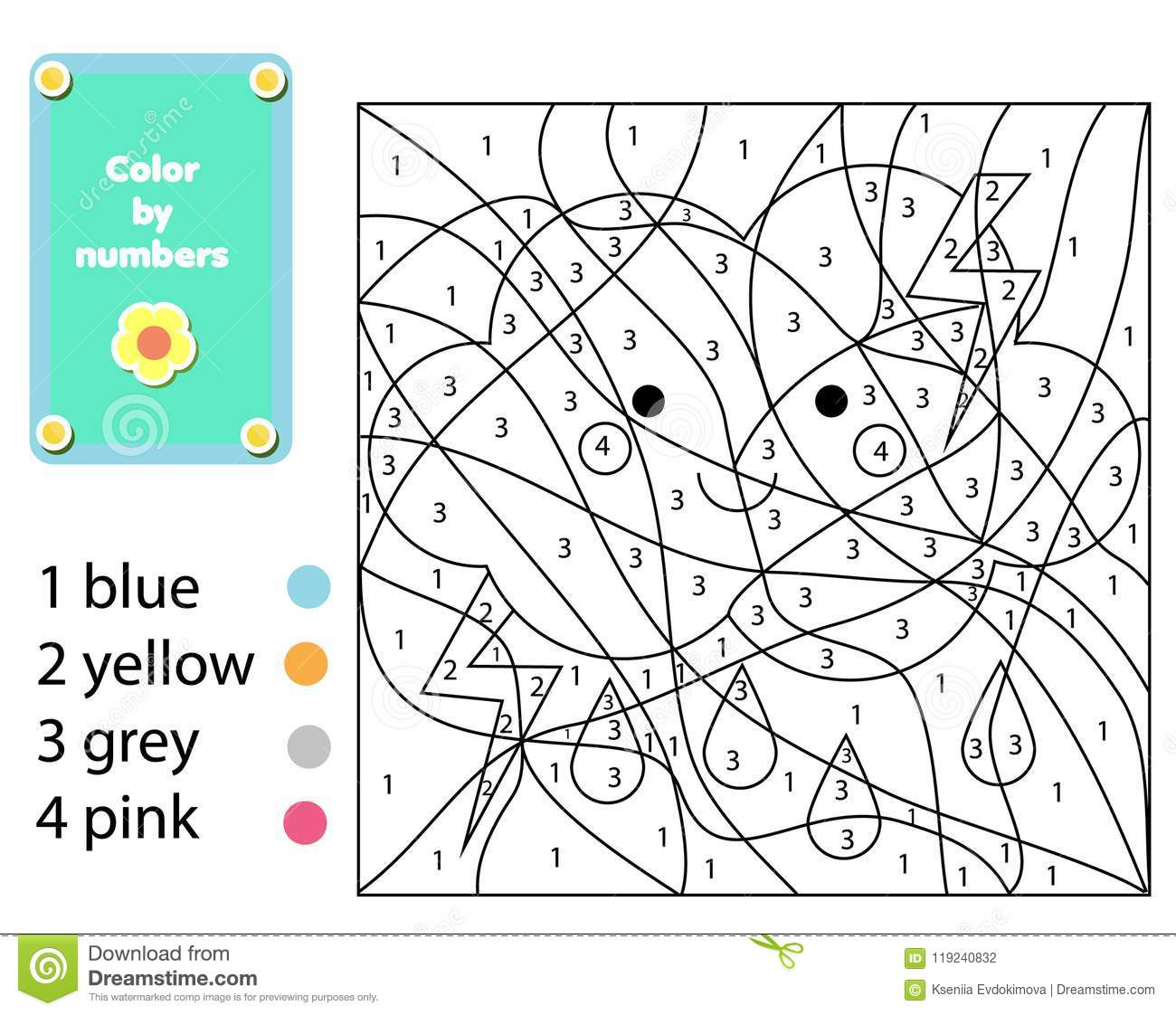 Children Educational Game Coloring Page With Cute Cloud