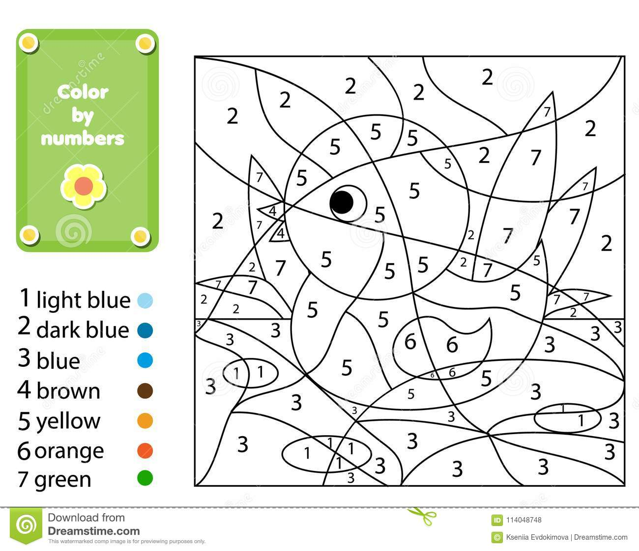 Children Educational Game Coloring Page With Duck Color By Numbers Printable Activity Stock