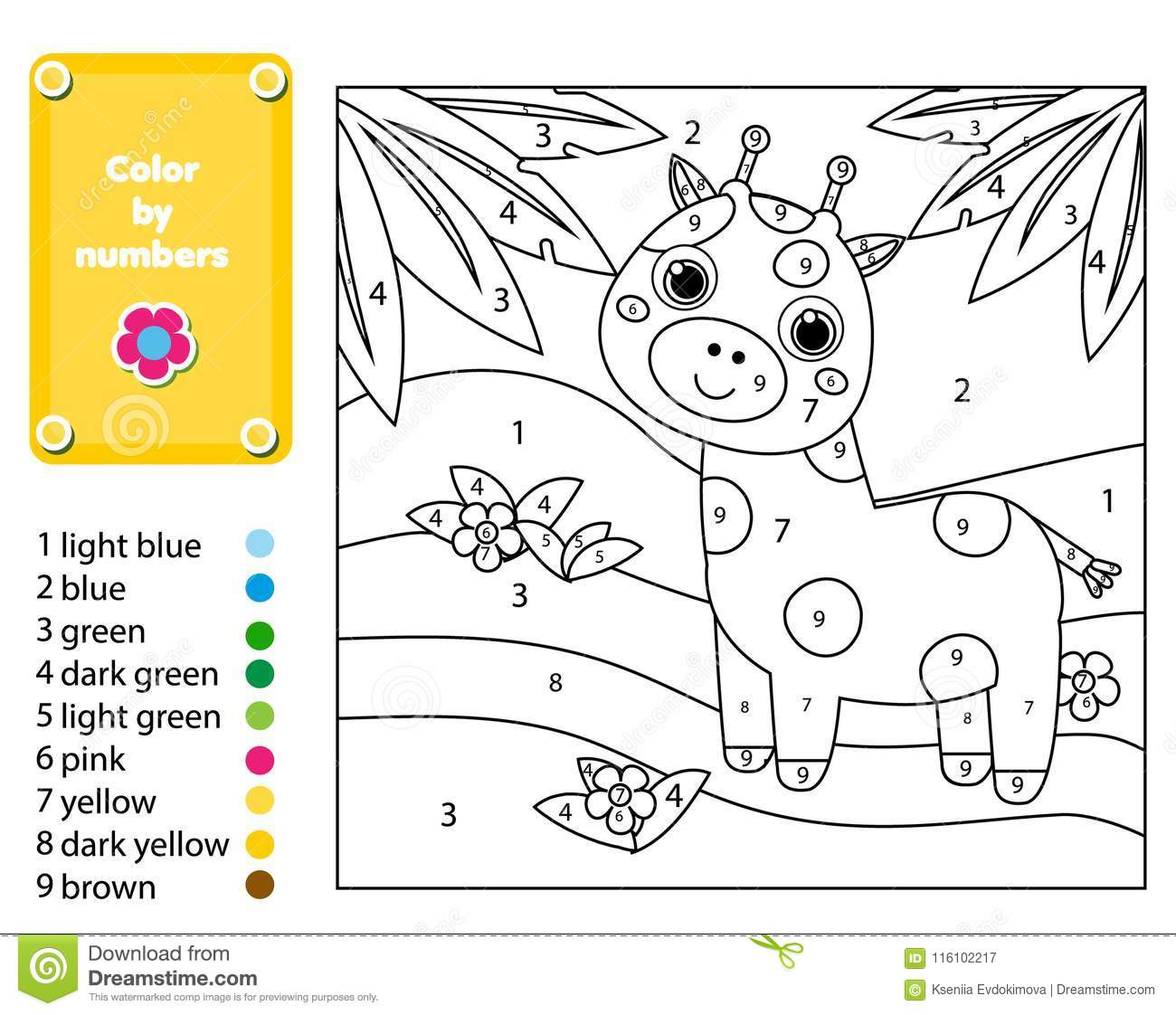 Children Educational Game Coloring Page With Giraffe In Jungle Color By Numbers Printable