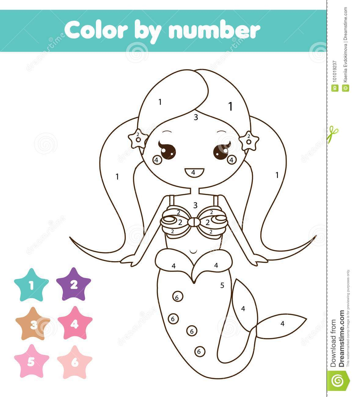Children Educational Game Coloring Page With Mermaid