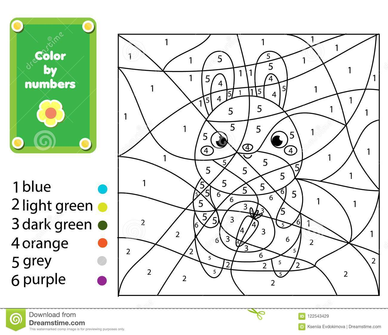 Children Educational Game Coloring Page With Rabbit Color By Numbers Printable Activity Stock Vector Illustration Of Children Homework 122543429