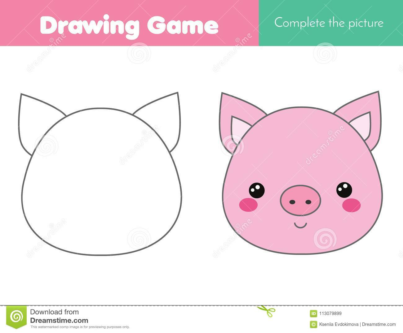 Children Educational Game Complete The Picture Coloring Page Kids Activity With Pig