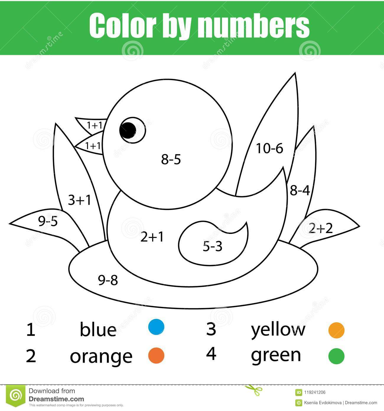 Children Educational Game Mathematics Coloring Page With