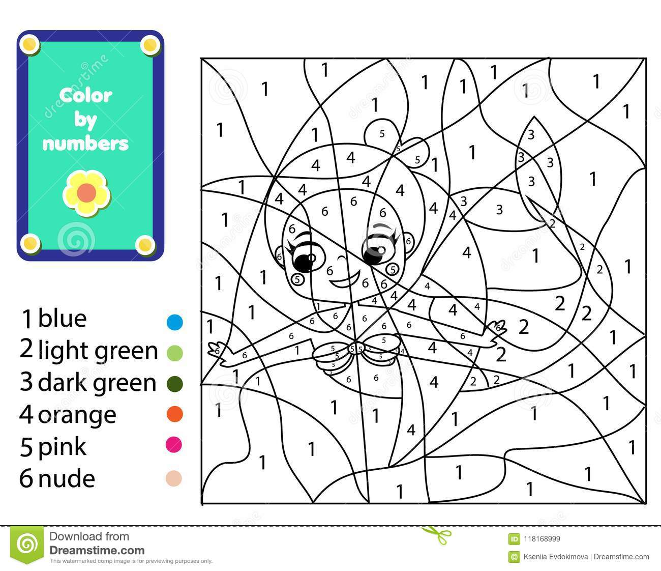 Children Educational Game Mermaid Coloring Page Color By Numbers Printable Activity For Kids