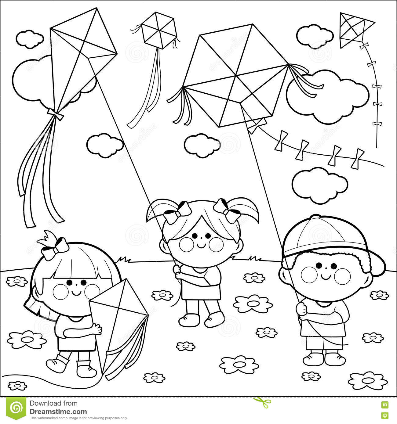 Children Flying Kites Coloring Book Page Stock Vector