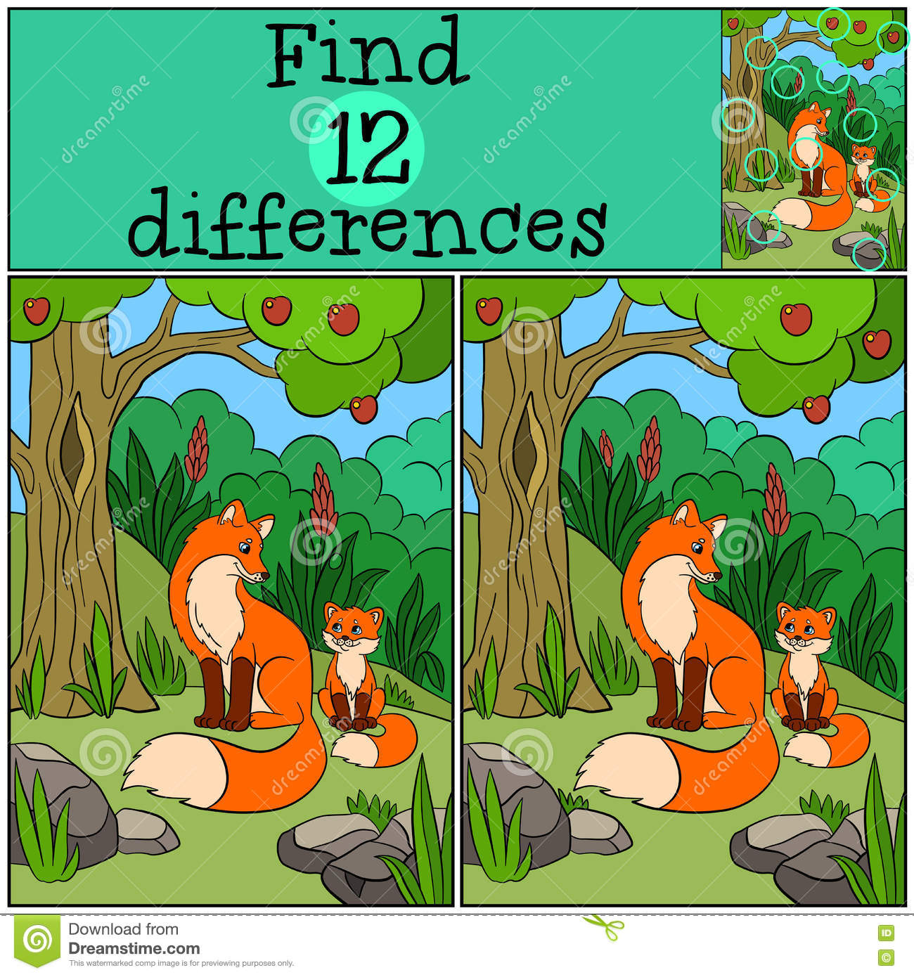Children Games Find Differences Mother Fox Sits With Her
