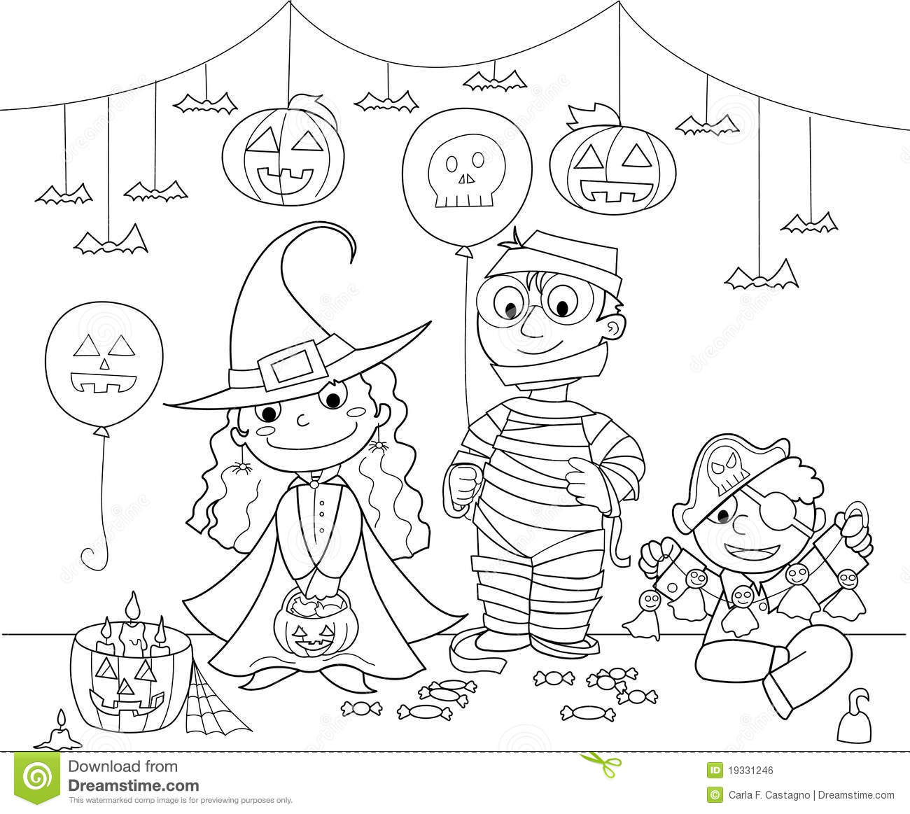 Children At Halloween Party Stock Vector
