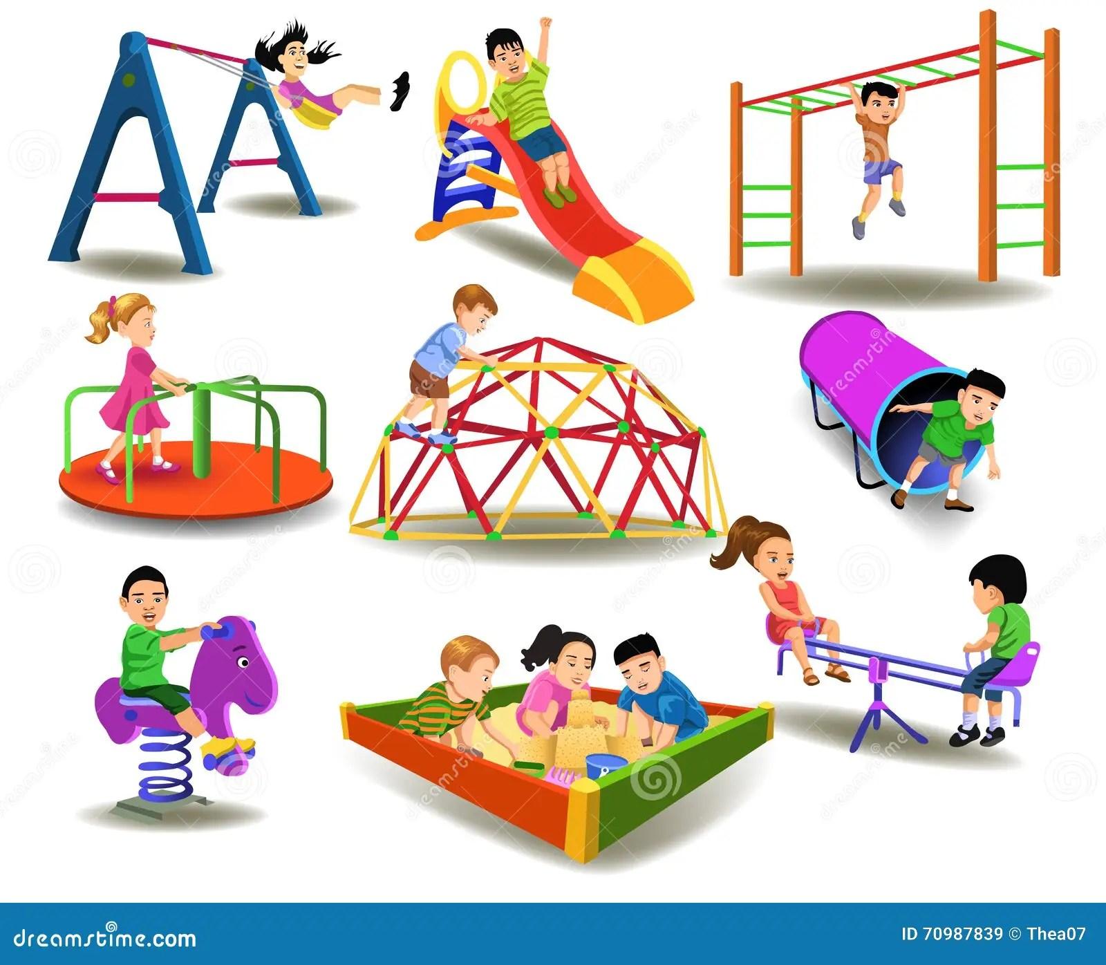 Children Having Fun At The Playground Stock Vector