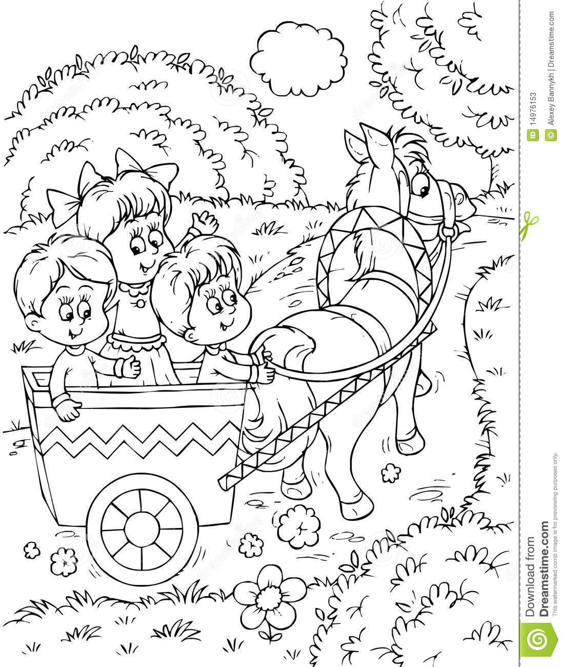 Children In A Horse Drawn Carriage Stock Photos
