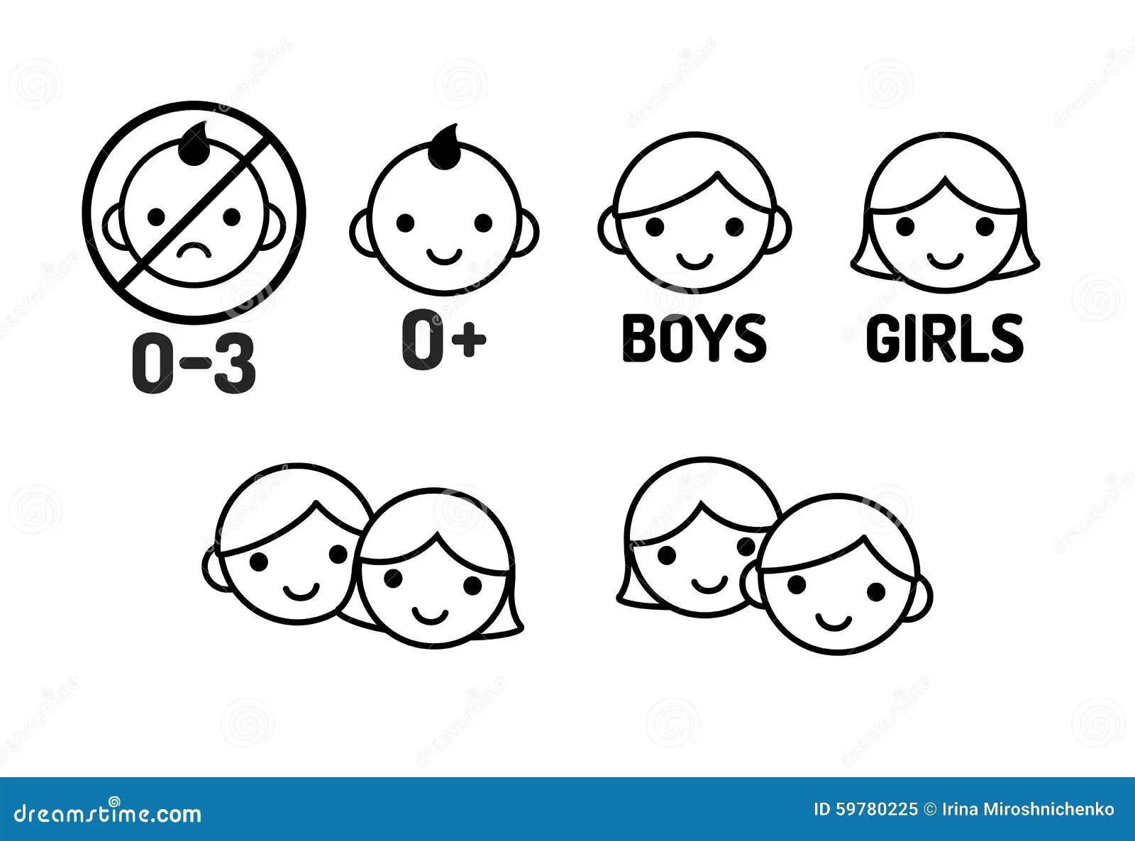 Children Icon Set Stock Vector Illustration Of Expression