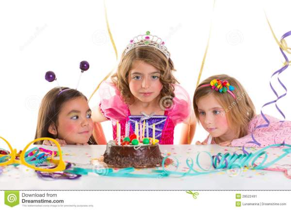 Children Kid Girls Birthday Party Look Excited Chocolate ...