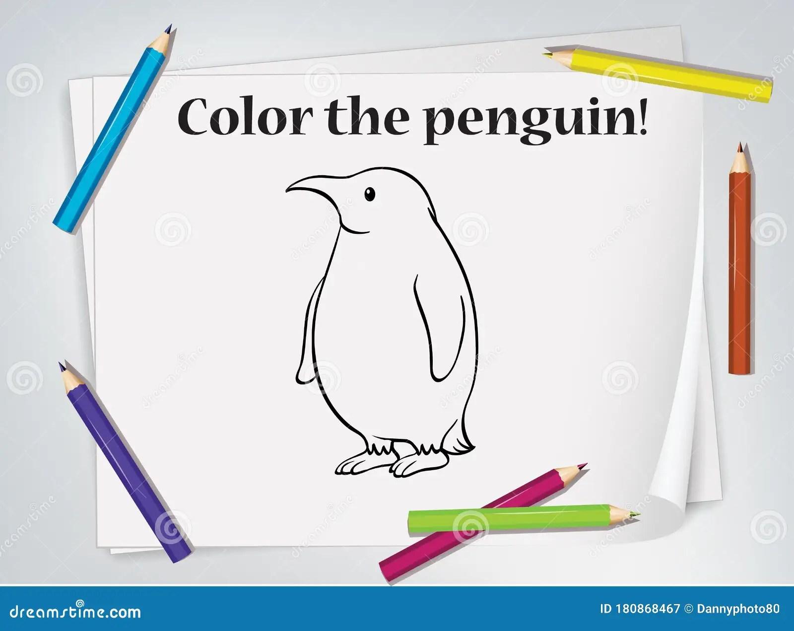 Children Penguin Coloring Worksheet Stock Vector