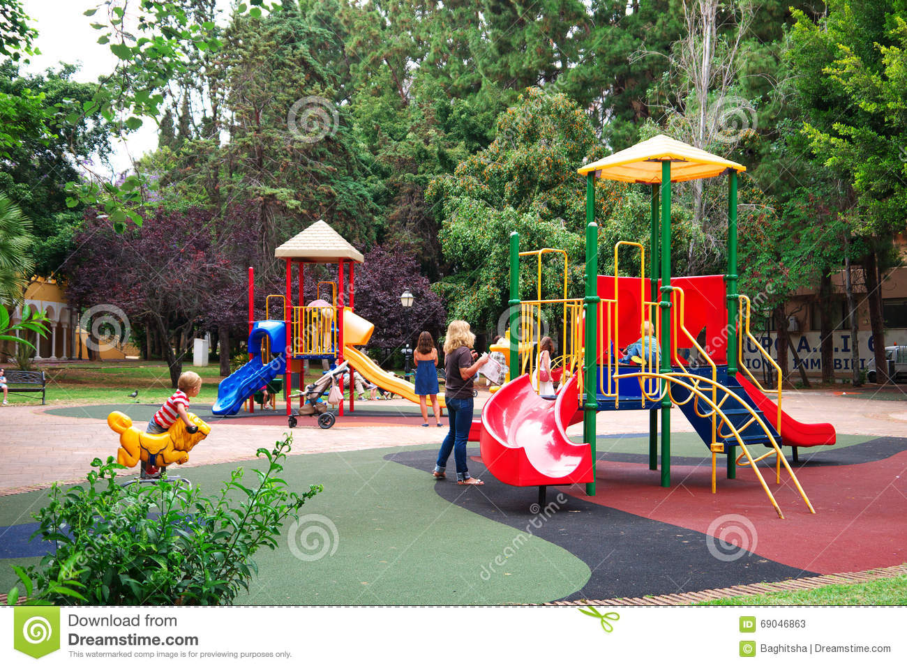 Children Play Area In Park Spain Editorial Stock Photo