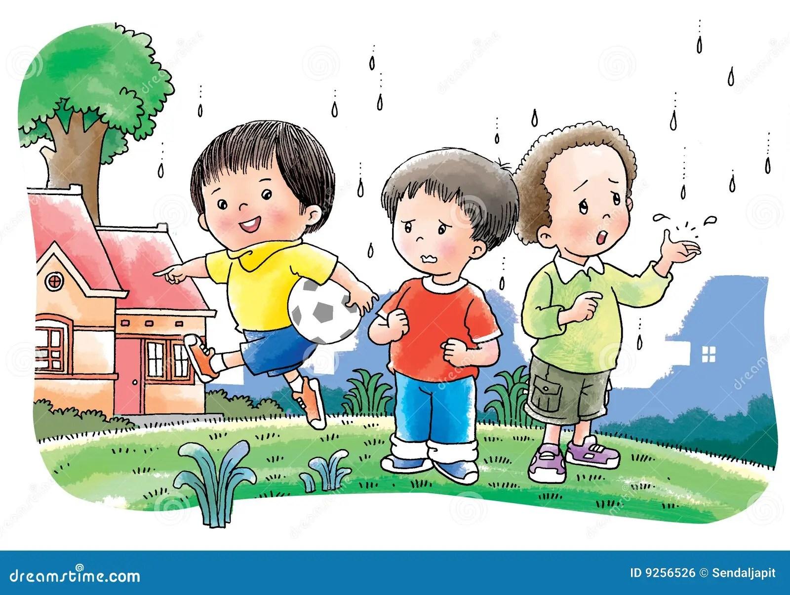 Children Play Football Stock Illustration Illustration Of