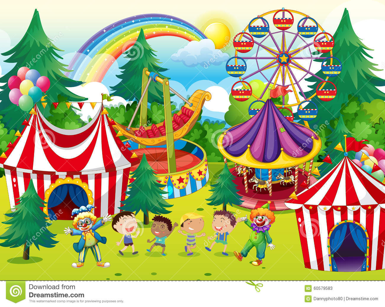 Children Playing In The Circus Stock Vector