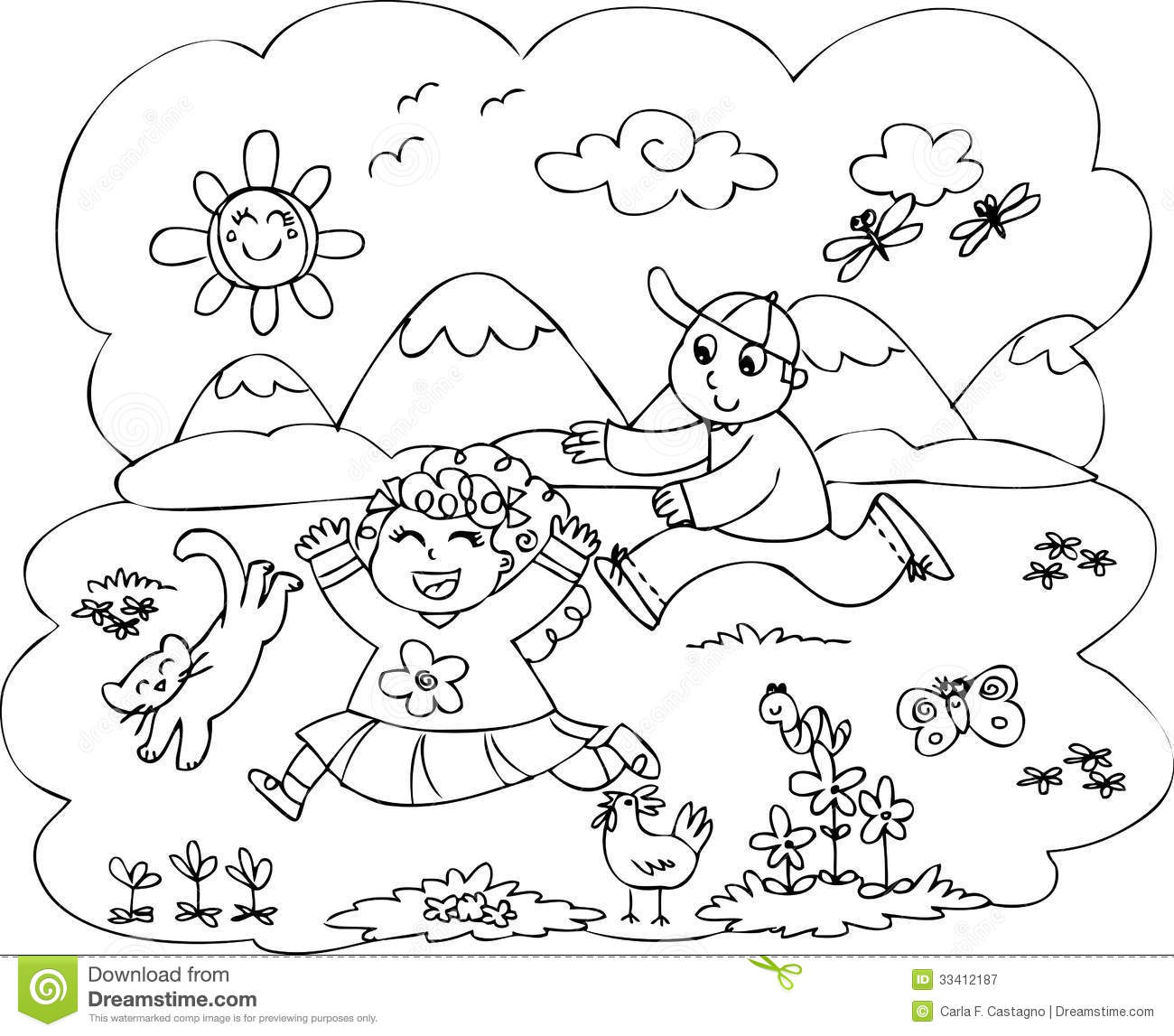 Children Playing In Countryside Vector Stock Vector