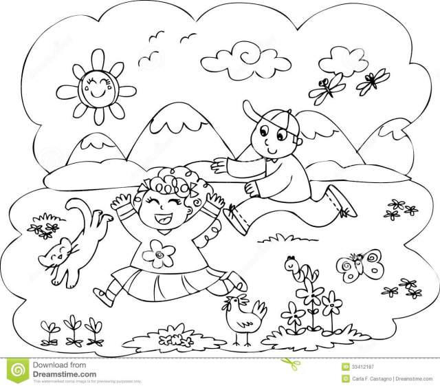 Children Playing in Countryside Vector Stock Vector - Illustration