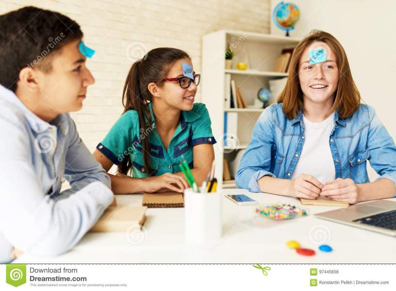 Children Playing Games In Classroom Stock Photo   Image of playing     Download Children Playing Games In Classroom Stock Photo   Image of  playing  discussing  97445656